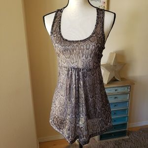 Beautiful sheer snakeskin print tank, NWT!